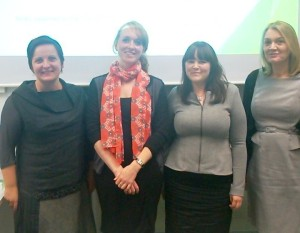 From L to R: Gorana Mlinarevic (Goldsmiths); Jennifer Thomson (QMUL); Claire Pierson (Ulster); Fidelma Ashe (Ulster)